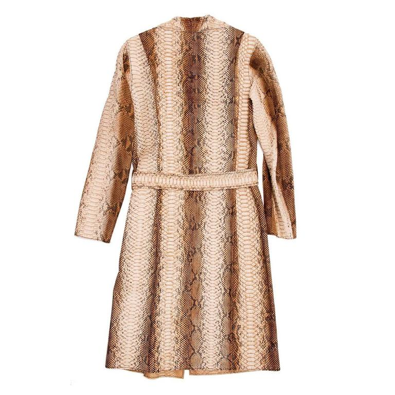 Beige Prada Python Trench Style Coat For Sale
