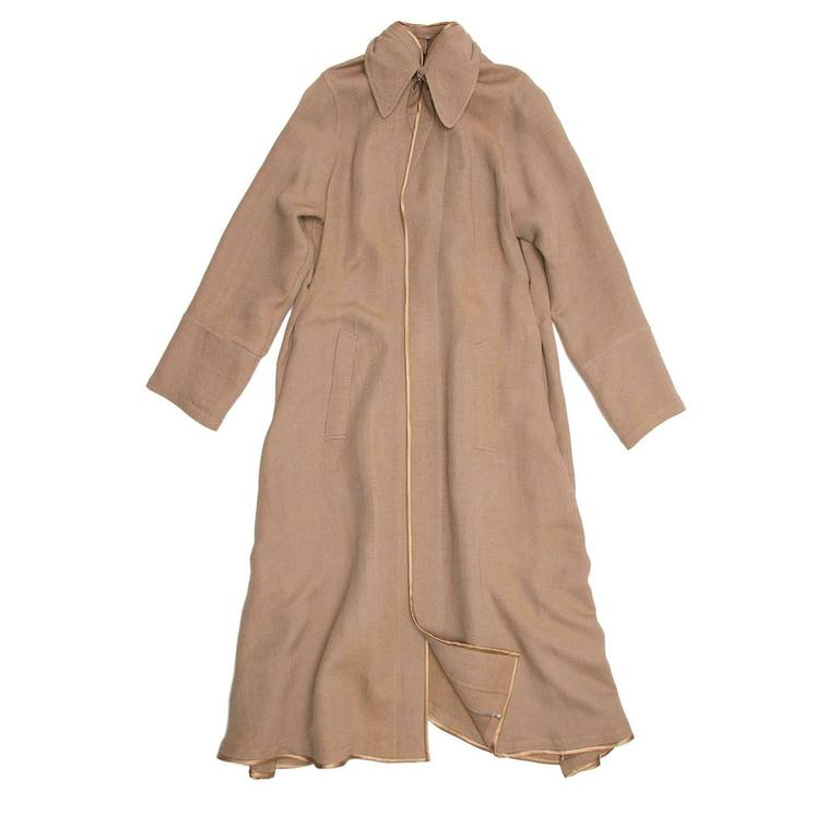 Undercover Bronze & Beige Woven Duster Coat In Excellent Condition For Sale In Brooklyn, NY