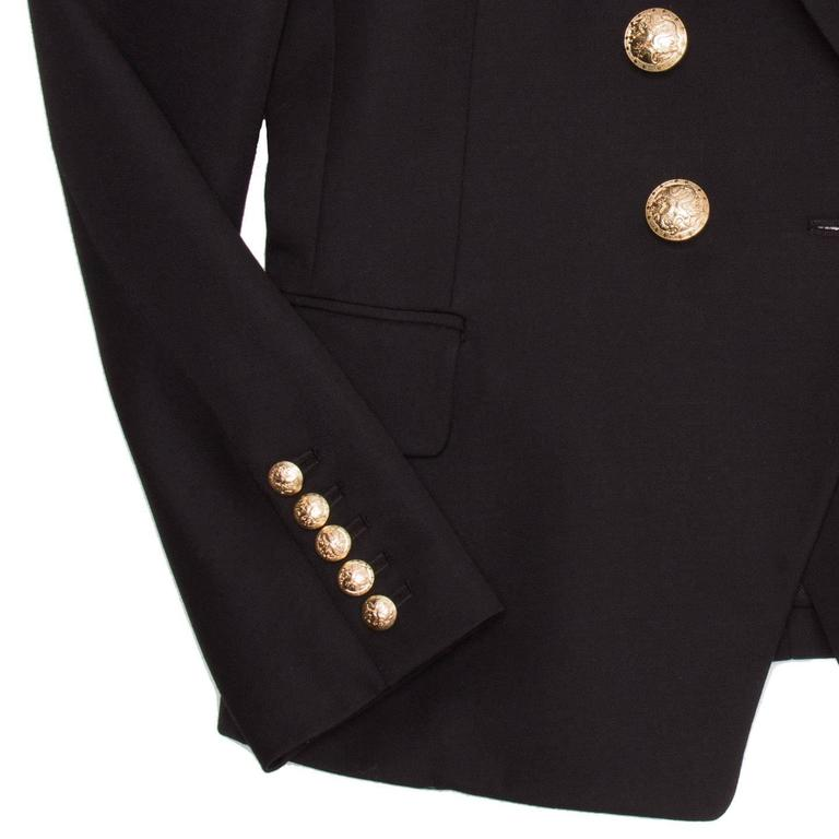 Balmain Black Wool Double Breasted Jacket For Sale 2