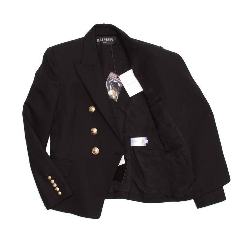 Women's Balmain Black Wool Double Breasted Jacket For Sale