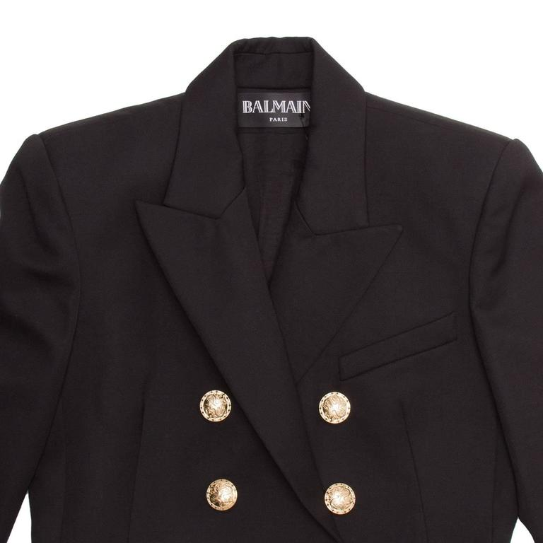 Balmain Black Wool Double Breasted Jacket For Sale 1