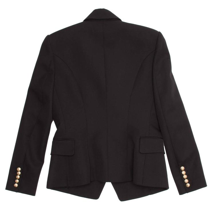 Balmain Black Wool Double Breasted Jacket In New Condition For Sale In Brooklyn, NY
