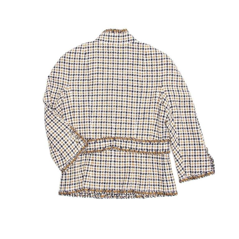 Gray Chanel Multicolor Cotton Houndstooth Jacket For Sale