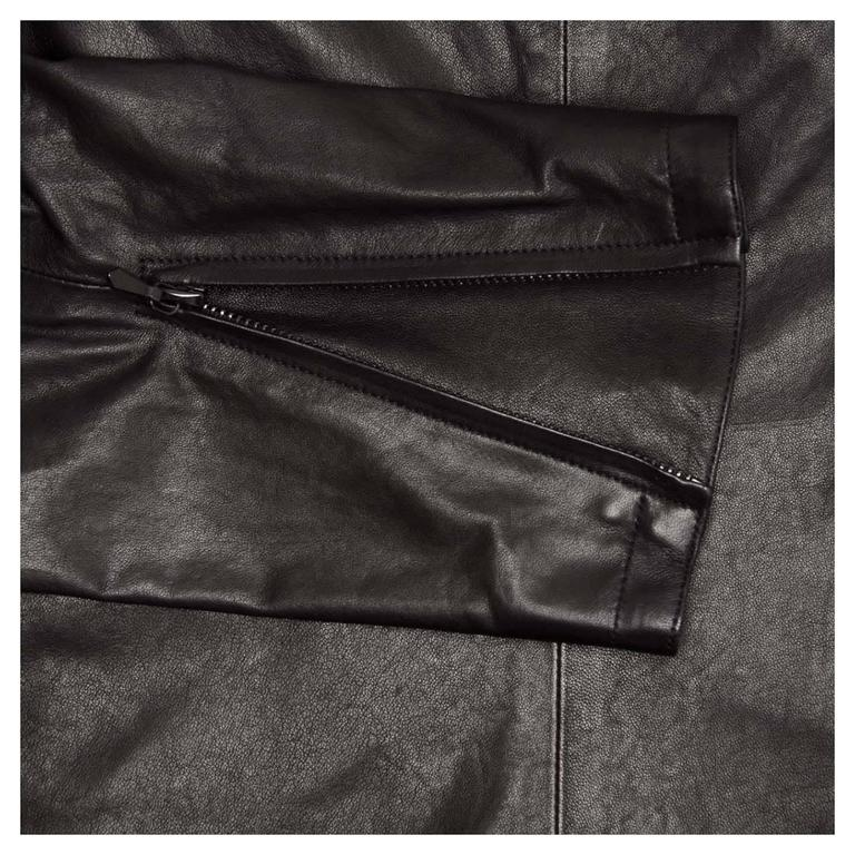 Chanel Black Leather & Lace Moto Style Jacket For Sale 1