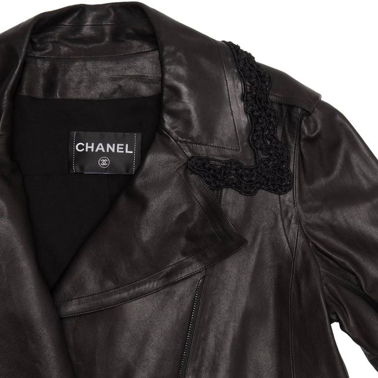 Chanel Black Leather & Lace Moto Style Jacket In New Never_worn Condition For Sale In Brooklyn, NY