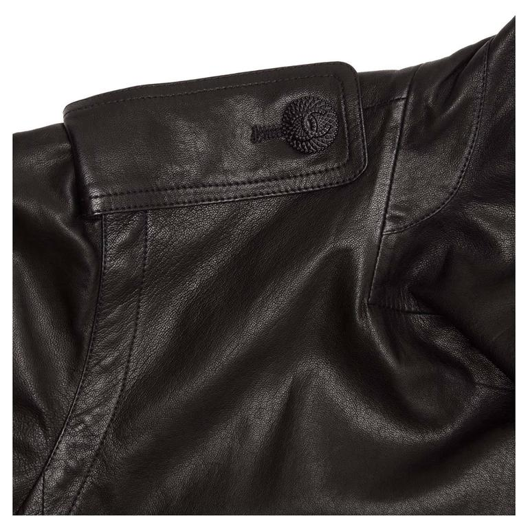Women's Chanel Black Leather & Lace Moto Style Jacket For Sale