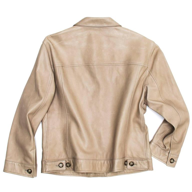 Beige Prada Taupe Leather Trucker Jacket For Sale