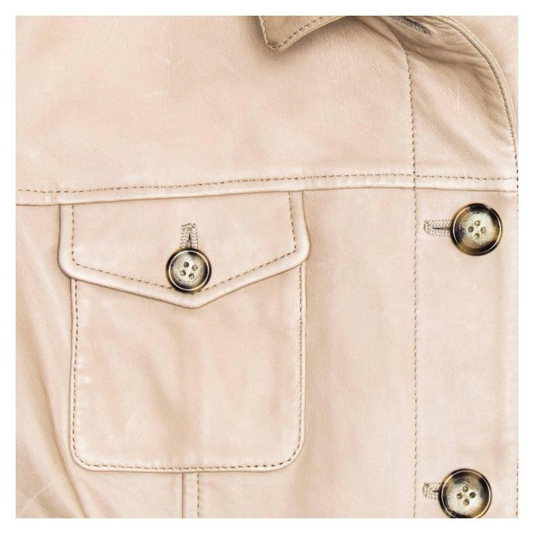 Women's Prada Taupe Leather Trucker Jacket For Sale