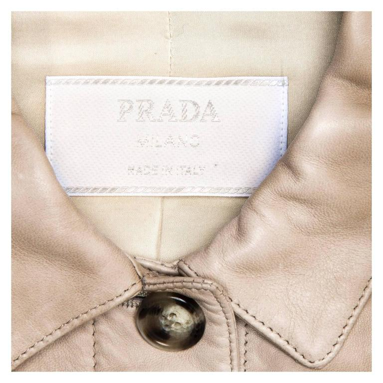 Prada Taupe Leather Trucker Jacket In New Condition For Sale In Brooklyn, NY
