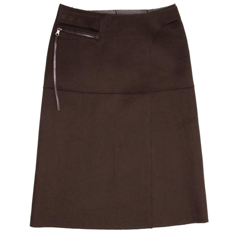 Black Prada Brown Reversible Leather & Camel Skirt For Sale