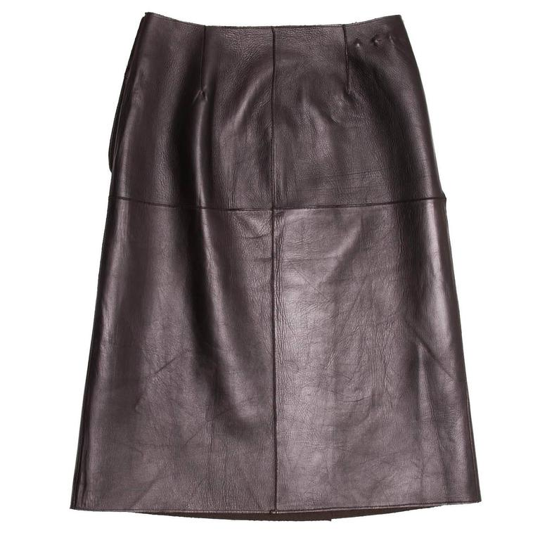 Prada Brown Reversible Leather & Camel Skirt In Excellent Condition For Sale In Brooklyn, NY