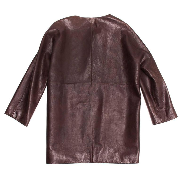 Balenciaga Brown Leather Collarless Coat In Excellent Condition For Sale In Brooklyn, NY