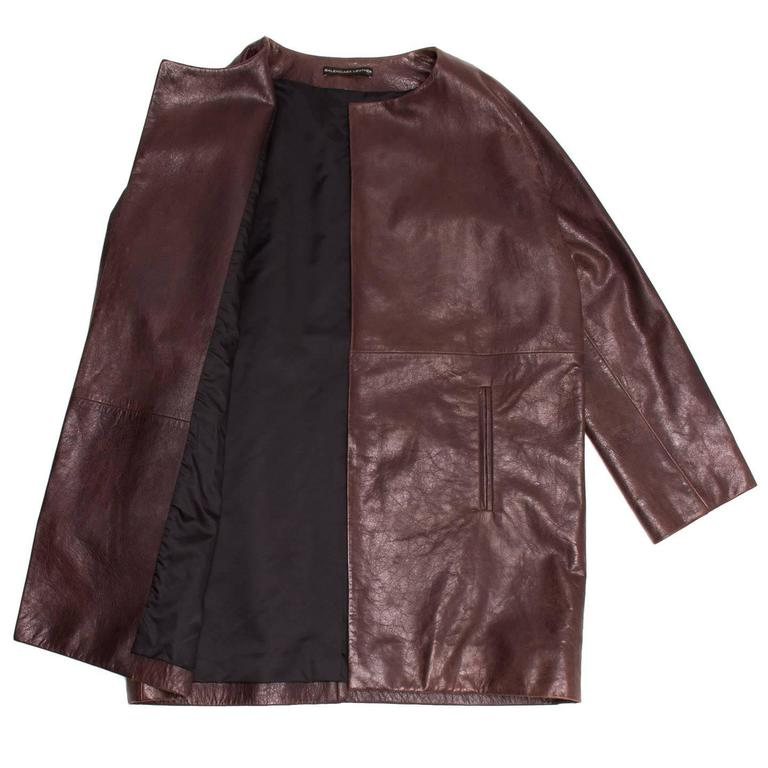 Black Balenciaga Brown Leather Collarless Coat For Sale