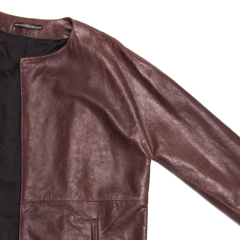 Women's Balenciaga Brown Leather Collarless Coat For Sale