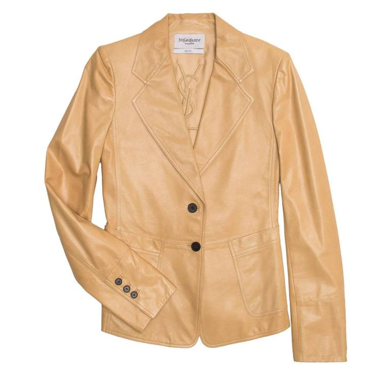 Camel colored fitted two button kangaroo leather blazer.  Size  40 French sizing  Condition  Excellent: worn once