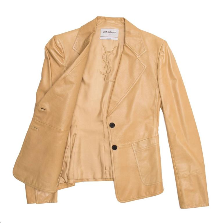 Beige Yves Saint Laurent Tan Kangaroo Leather Fitted Blazer For Sale