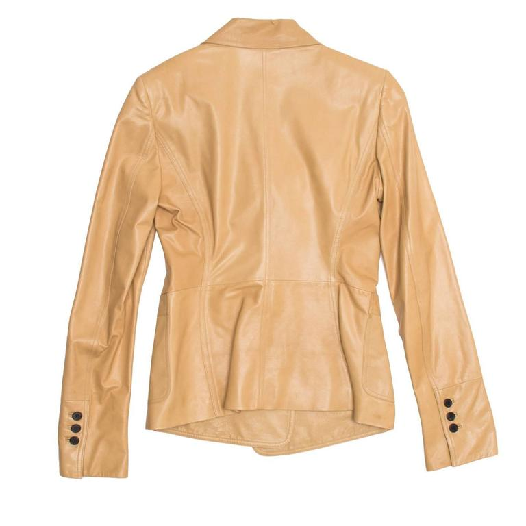 Yves Saint Laurent Tan Kangaroo Leather Fitted Blazer In Excellent Condition For Sale In Brooklyn, NY