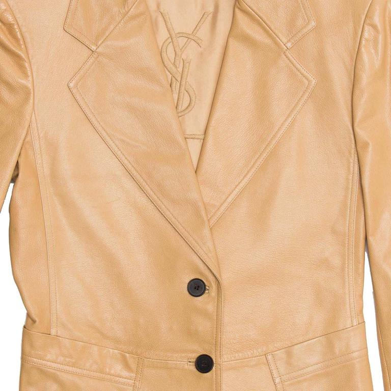 Women's Yves Saint Laurent Tan Kangaroo Leather Fitted Blazer For Sale