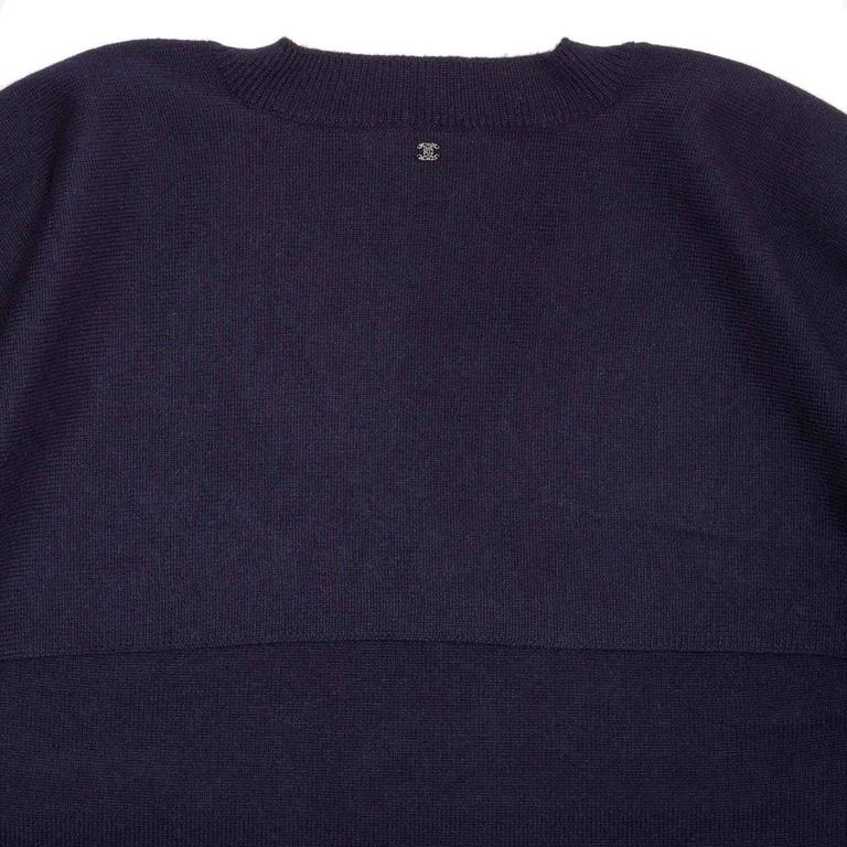 Women's Chanel Navy Cashmere Short Kimono Style Sleeved Sweater For Sale
