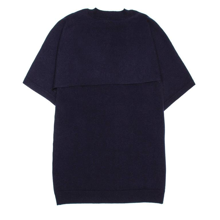 Black Chanel Navy Cashmere Short Kimono Style Sleeved Sweater For Sale