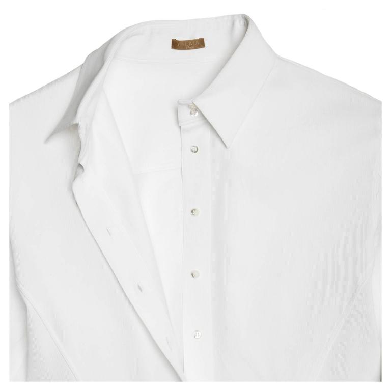 Women's Alaïa White Twill Cotton Shirt For Sale