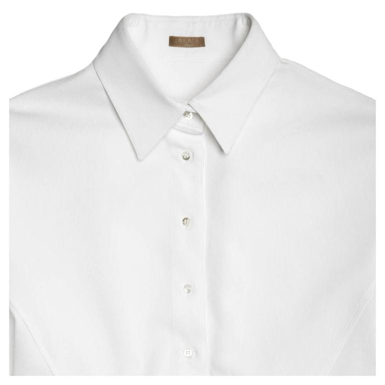 Alaïa White Twill Cotton Shirt In Excellent Condition For Sale In Brooklyn, NY