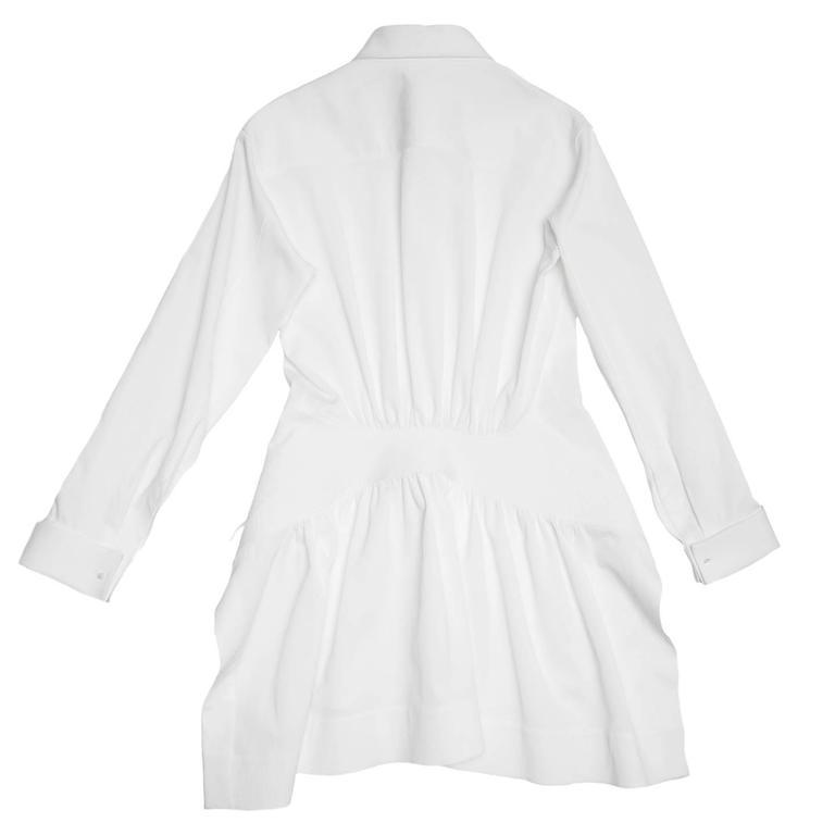 Gray Alaïa White Twill Cotton Shirt For Sale