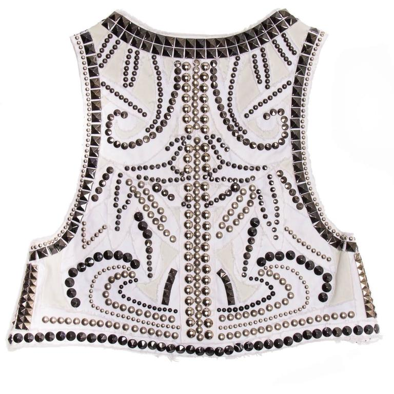 Balmain White Denim Studded Vest In Excellent Condition For Sale In Brooklyn, NY