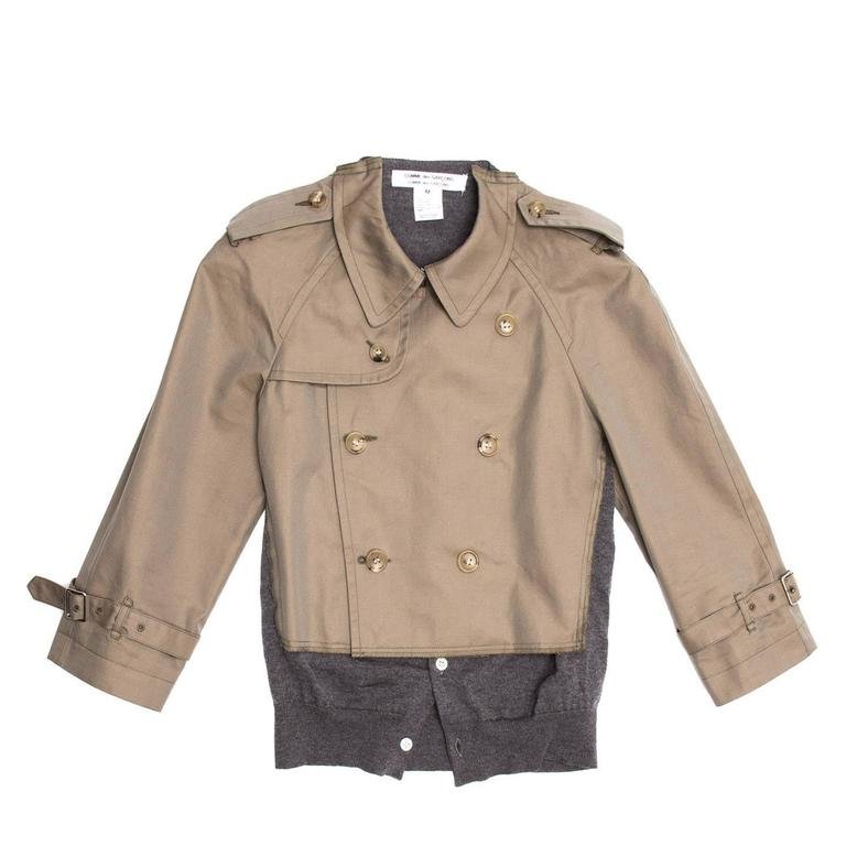 Comme des Garçons Olive & Grey Trench Style Jacket 2