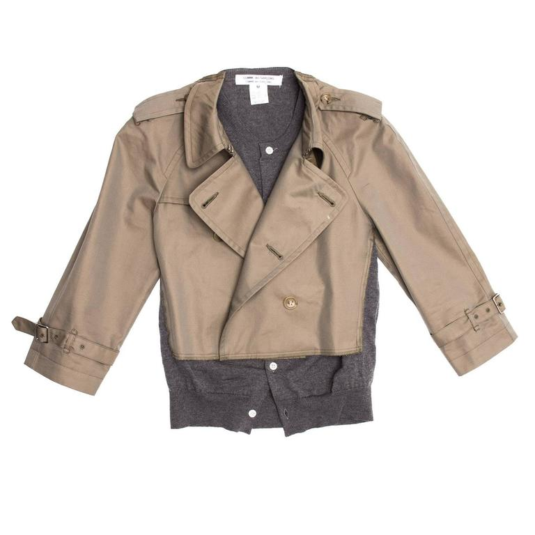 Comme des Garçons Olive & Grey Trench Style Jacket 3