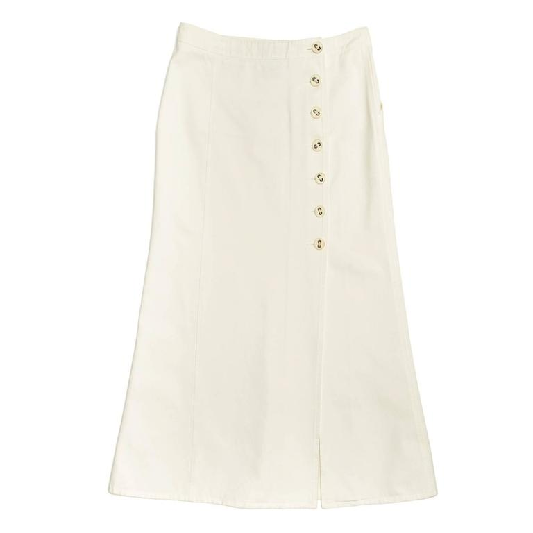 Chanel White Denim Button Back Long Skirt 3