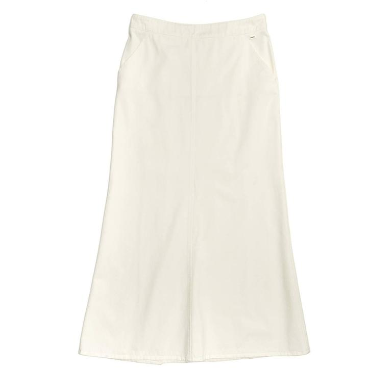 Chanel White Denim Button Back Long Skirt 2