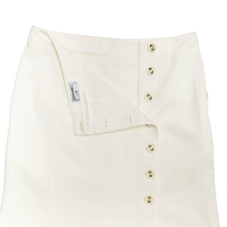 Chanel White Denim Button Back Long Skirt 4