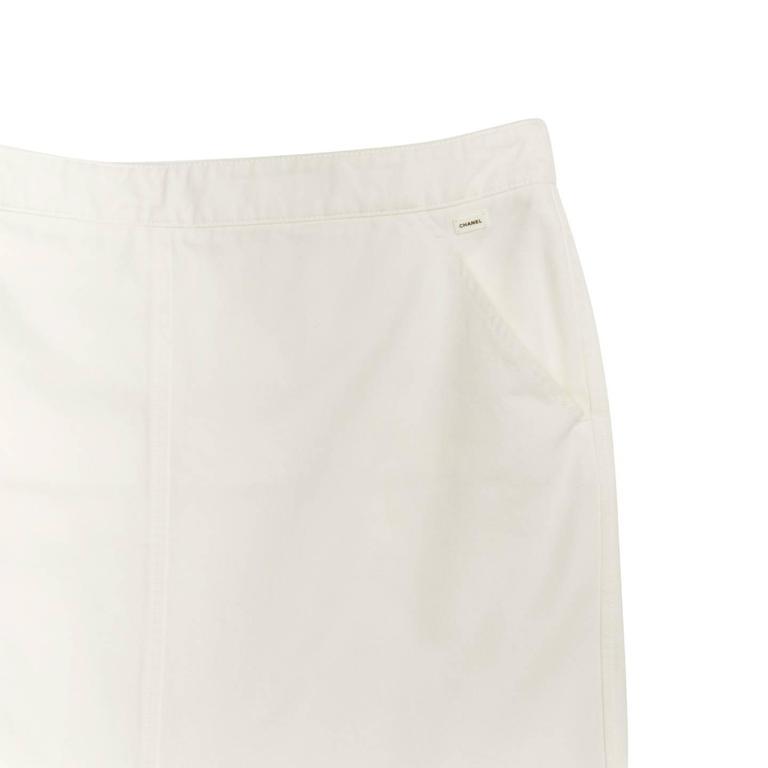 Chanel White Denim Button Back Long Skirt For Sale 1