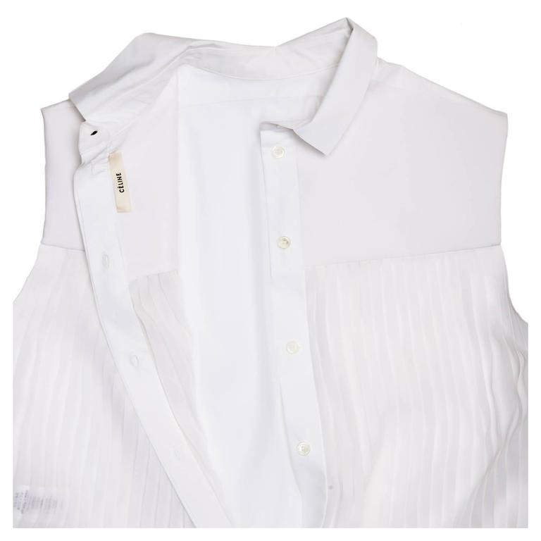 Celine White Cotton & Chiffon Sleeveless Shirt In New Condition For Sale In Brooklyn, NY