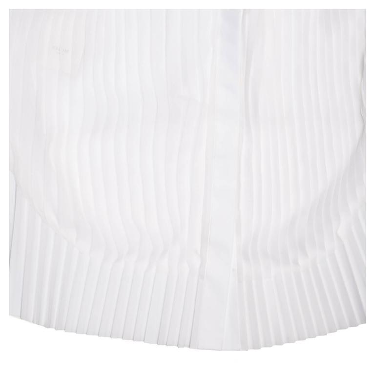 Celine White Cotton & Chiffon Sleeveless Shirt 5