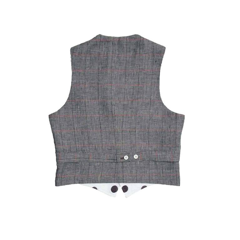 Thom Browne White & Grey Polka Dot Vest In Excellent Condition For Sale In Brooklyn, NY
