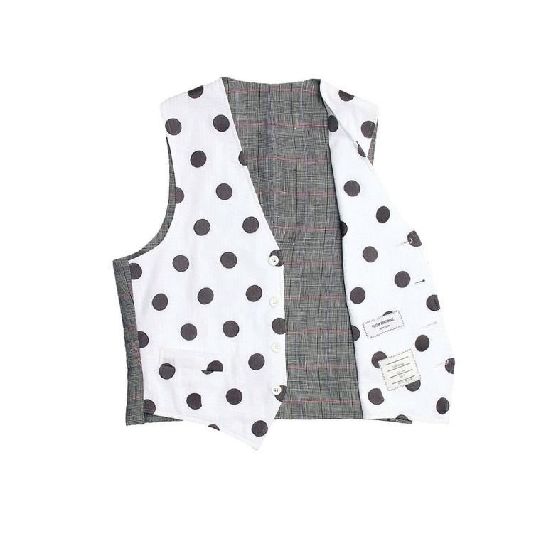 Gray Thom Browne White & Grey Polka Dot Vest For Sale