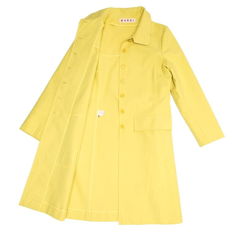 Marni Yellow Rain Coat In New Condition For Sale In Brooklyn, NY