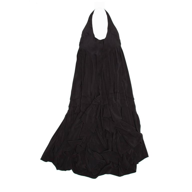 Balenciaga Black Silk Long Halter Dress
