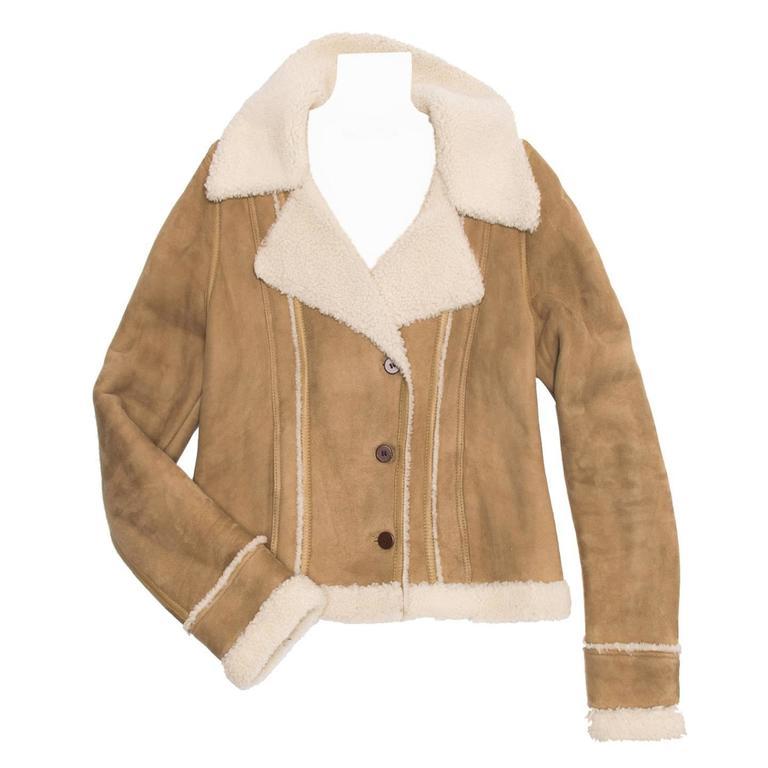 Balenciaga Tan & Ivory Shearling Jacket