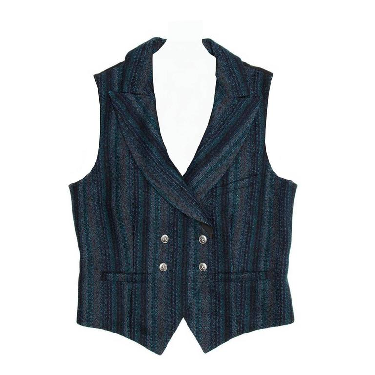 Chanel Navy Teal Gray Shades Striped Double Breasted Vest