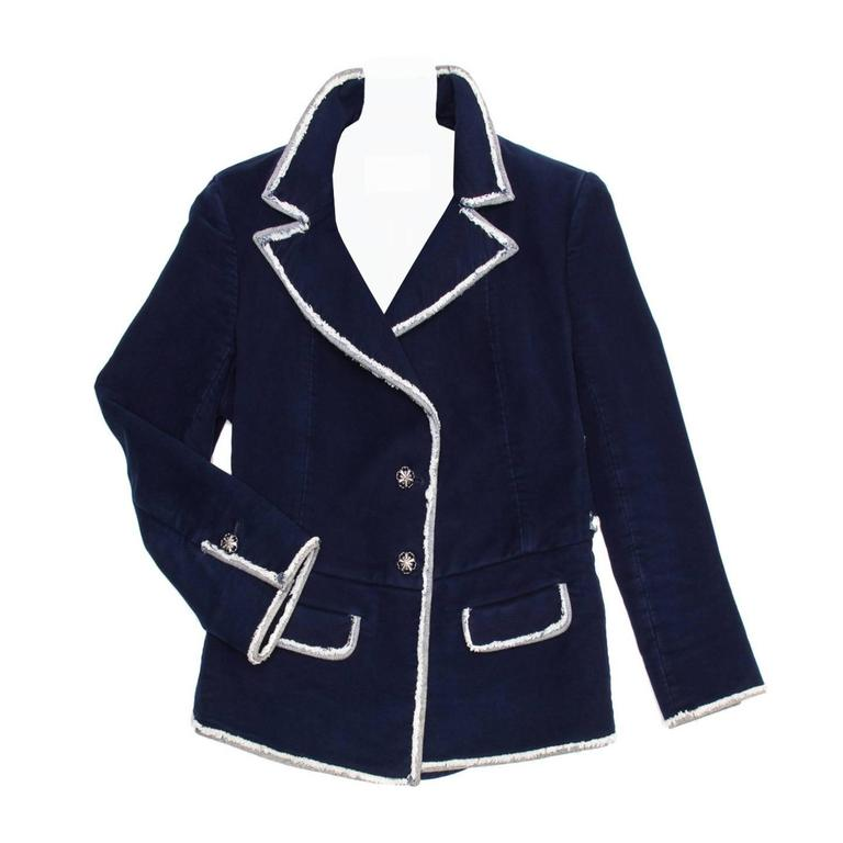 Chanel Navy Moleskin and Frayed Denim Trim Blazer For Sale