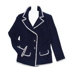 Chanel Navy Moleskin and Frayed Denim Trim Blazer