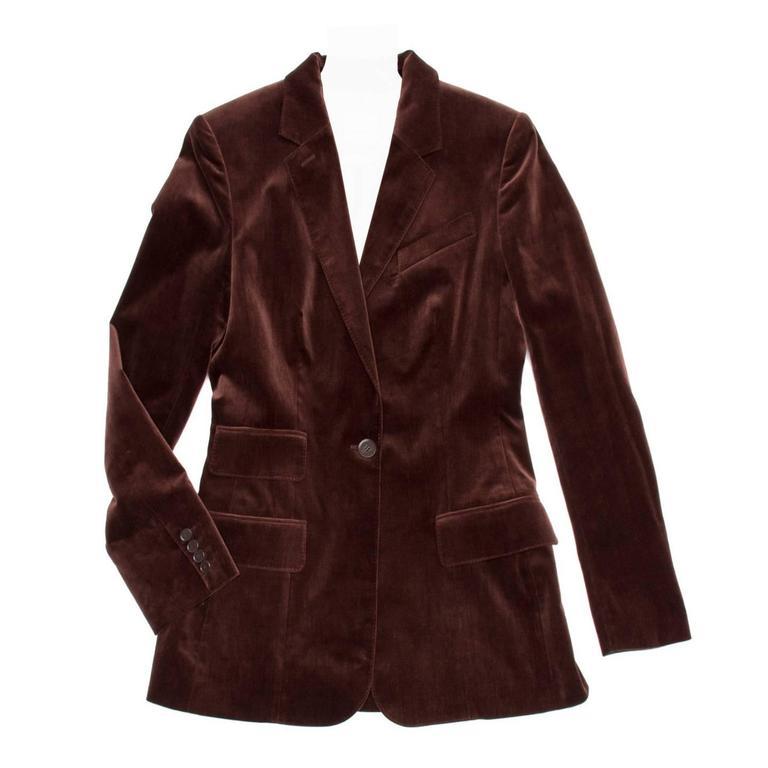 Hermès Maroon Cotton Velvet Blazer