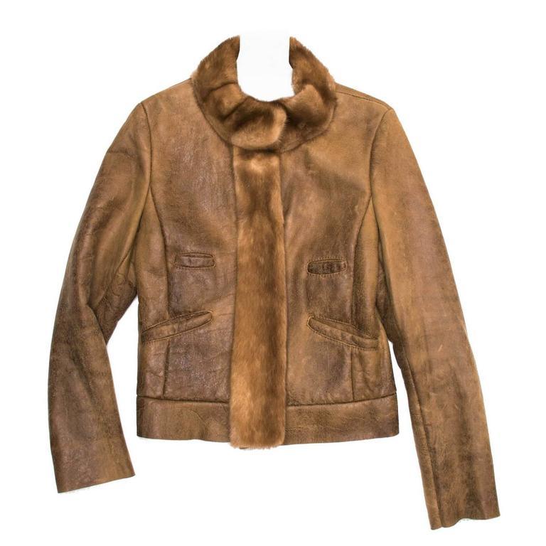 Prada Brown Distressed Shearling Jacket