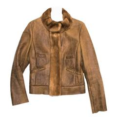 Prada Brown Distressed Shearling Jacket