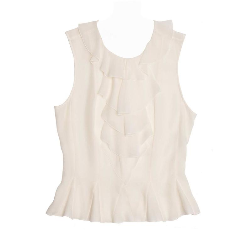 Chanel Ivory Silk Sleeveless Ruffle Bib Top