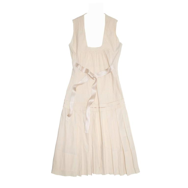 Prada Ivory Cotton Pleated Dress