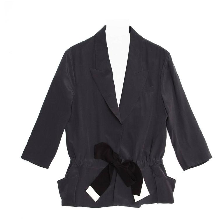 Vionnet Grey Silk Belted Jacket